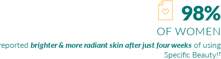 84% of women reported brighter & more radiant skin after 4 weeks with Specific Beauty skin care. Women love Specific Beauty.
